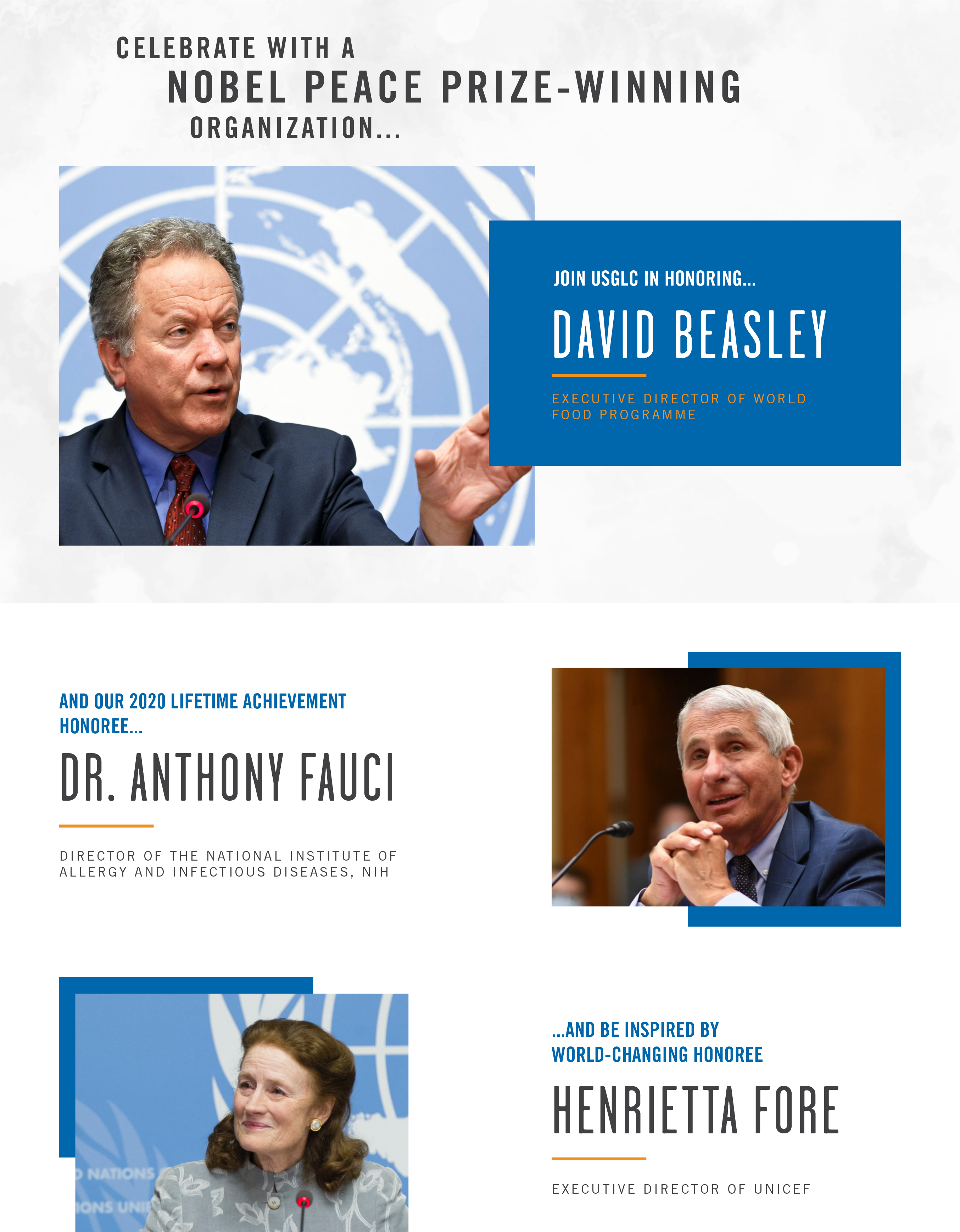 Honoring Anthony Fauci, Henrietta Fore, and David Beasley